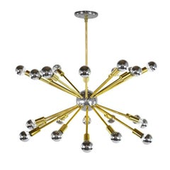 Vintage Chrome and Brass Sputnik Chandelier
