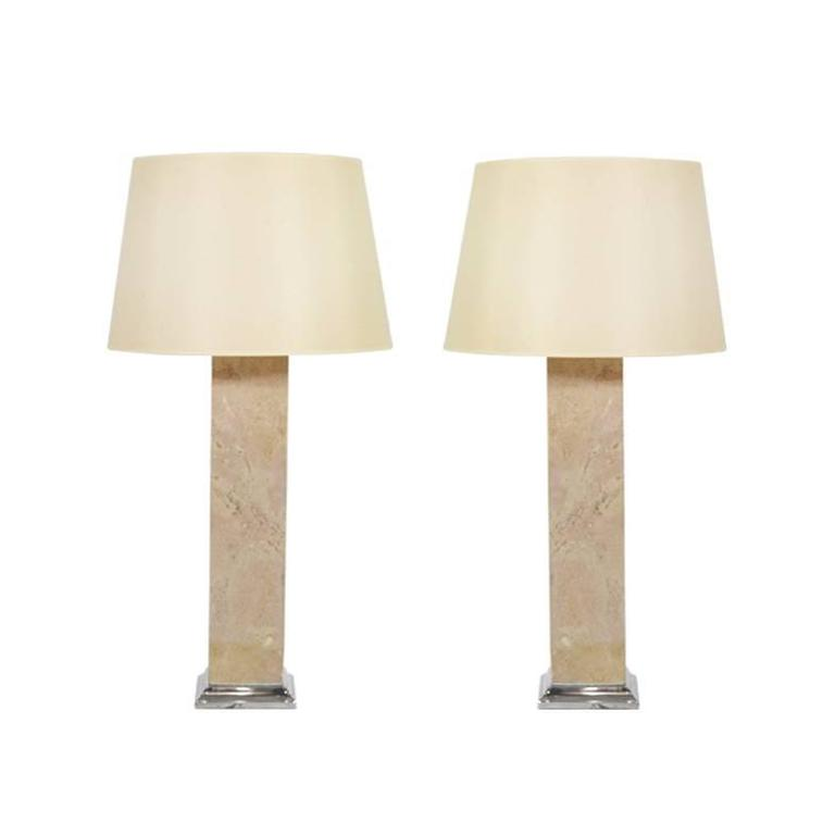 Pair of Travertine Table Lamps, 1950s