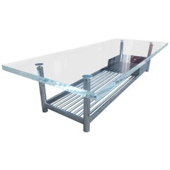 """Limited Edition """"Marion"""" Coffee Table in Stainless Steel and Lucite by J. Blake"""