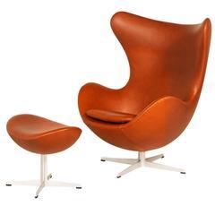 "Arne Jacobsen ""Egg"" Chair with Ottoman for Fritz Hansen"