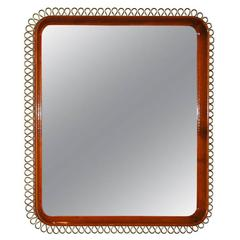 Mirror with Mahogany and Brass Frame, Sweden, circa 1950