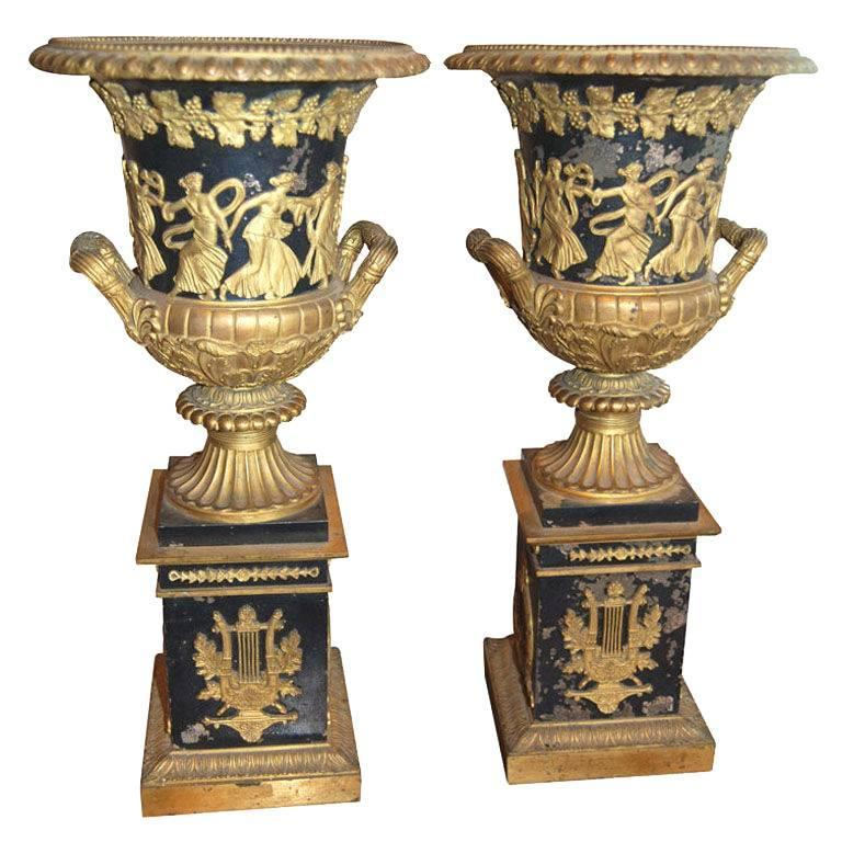 Period Empire Bronze Neoclassical Urns For Sale