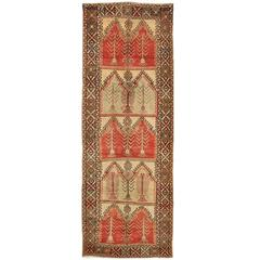 Vintage Wide Tribal Turkish Runner Rug
