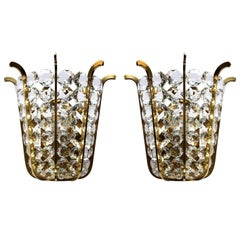 Very Beautiful and Rare Pair of Crystal Glass and Brass Sconces, Austria, 1950s