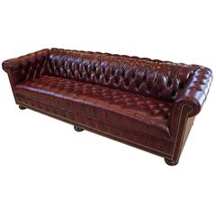 Vintage Tufted Leather 8' Chesterfield Sofa