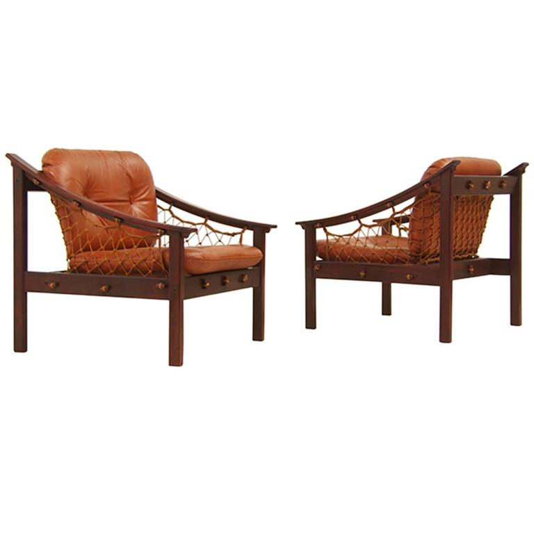 Amazonas Brazilian Jacaranda Sling Lounge Chairs by Jean Gillon