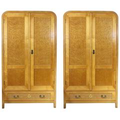 Pair of Bent Beechwood Wardrobes, Thonet