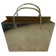 Vintage Italian Brass Shopping Bag Magazine Holder