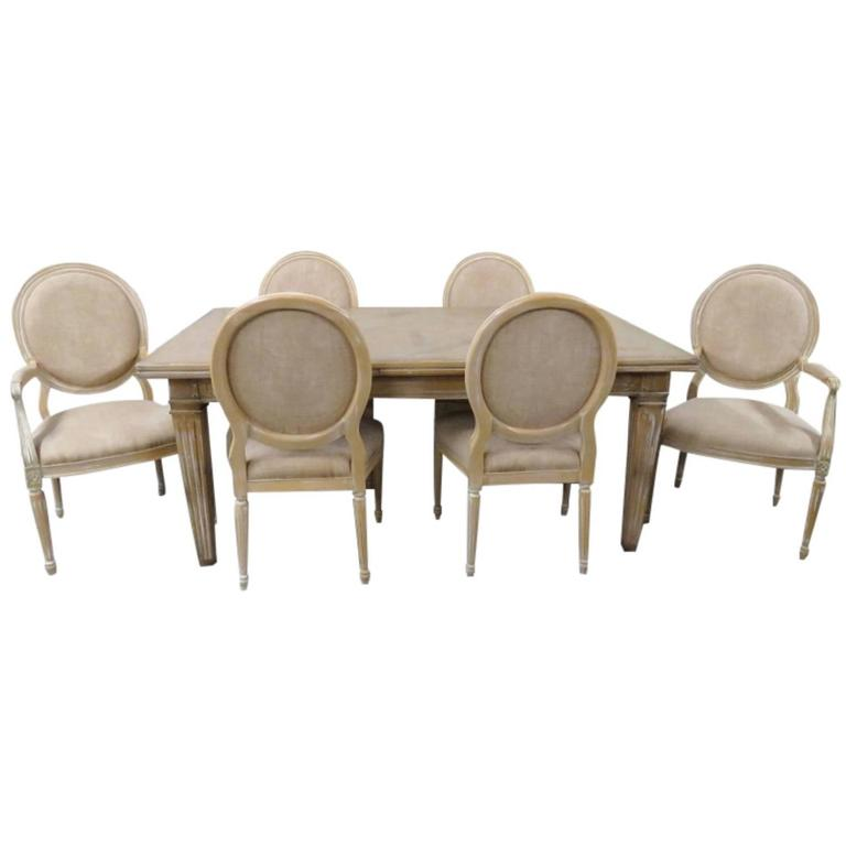 cream painted dining table and six chairs for sale at 1stdibs