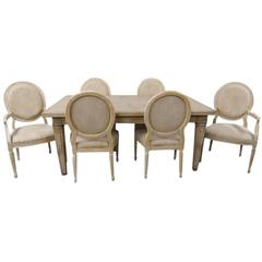 Guido Zichele Distressed Cream Painted Dining Table and Six Chairs