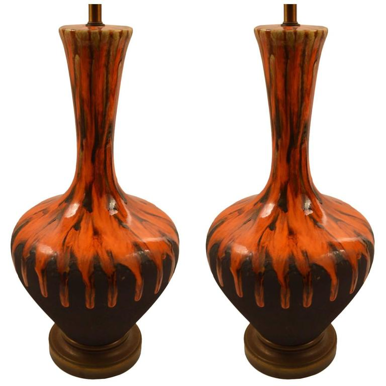 Pair of Bulbous Orange Drip Glaze Table Lamps