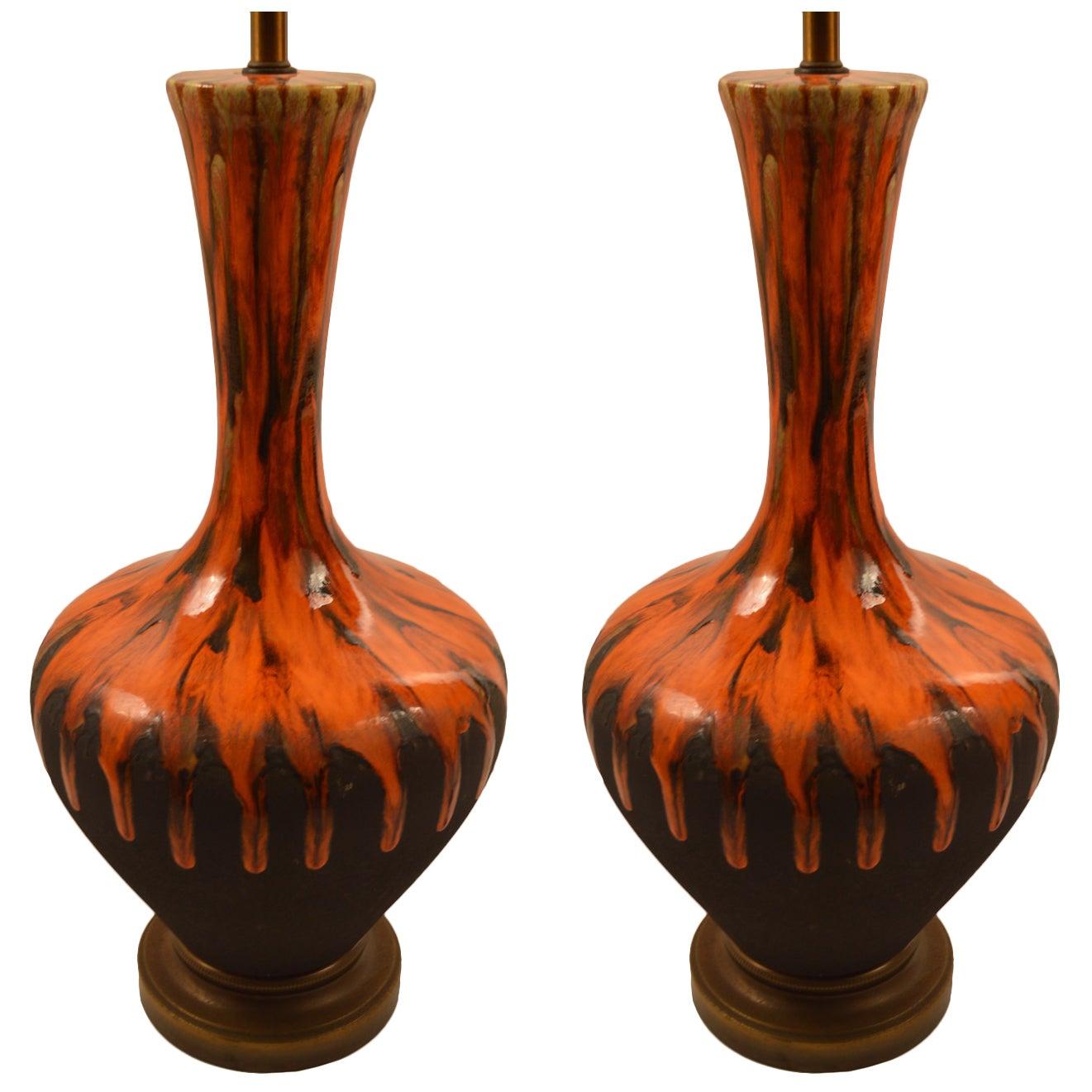 Pair of Bulbous Orange Drip Glaze Table Lamps
