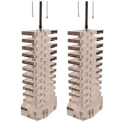 Pair of Stacked Lucite Block Table Lamps