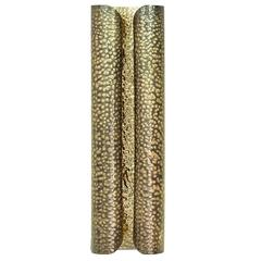 Tuba Wall Light in Hammered Aged Brass