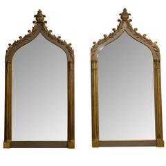 Pair of Carved Wood Gothic Revival Mirrors