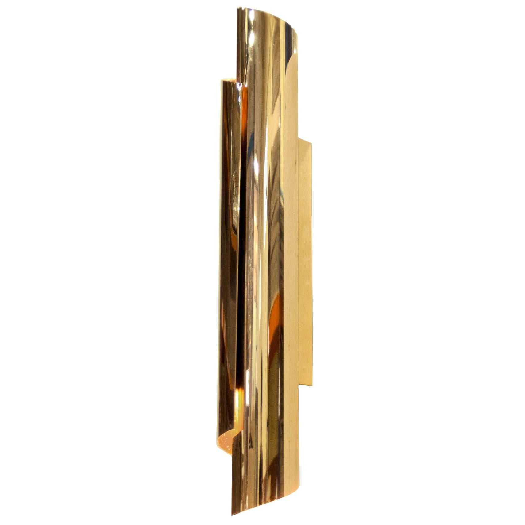 Smooth Wall Lamp in Gold-Plated Brass