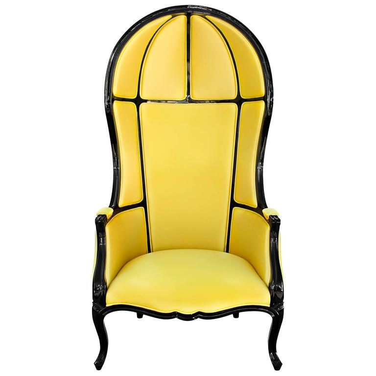 Tresor Armchair in Satinated Cotton and Black Lacquered Structure For Sale