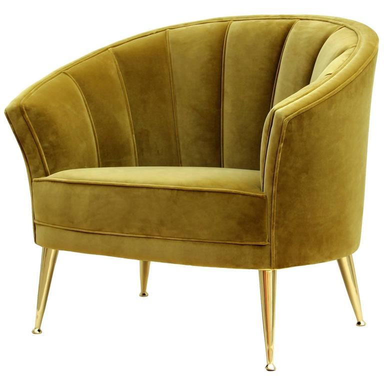 Arca Armchair in Cotton Velvet with Brass Feet For Sale