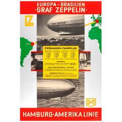 Original Vintage 1932 Travel Advertising Poster, Europe Brazil by Graf Zeppelin