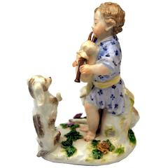 Meissen Lovely Shepherd with Bagpipes Watched by Sheep and Dog, circa 1750
