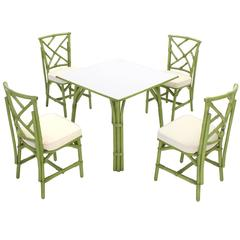 Square Game Table and Four Chairs Green Faux Bamboo Rattan