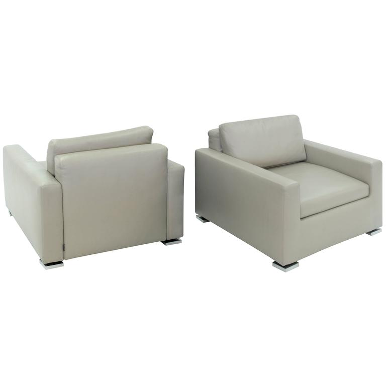Pair Of Clean Line Lounge Chairs By Minotti For Sale