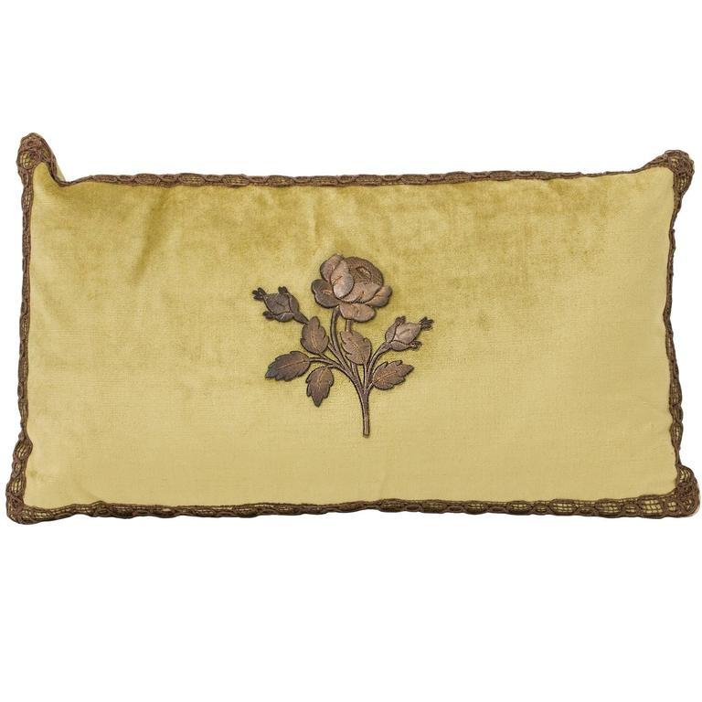 Decorative Pillow Trimmed with Antique Gold Metal Flower For Sale at 1stdibs