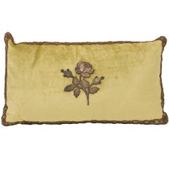 Pillow, Trimmed with Antique Gold Metal Flower