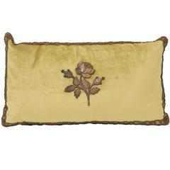 Decorative Pillow Trimmed with Antique Gold Metal Flower