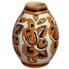 Art Deco Floral Vase by Boch Freres Keramis, 1920s
