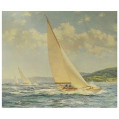Vintage Yachting Print, English, Mid-20th Century