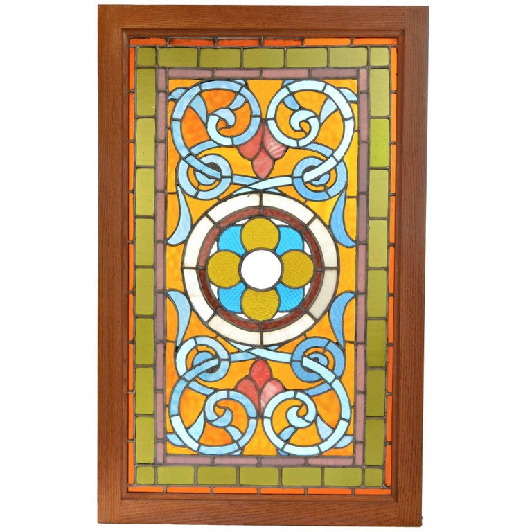 Victorian Teal and Amber Stained Glass Window with Rondelles For Sale