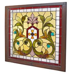 Victorian Stained and Beveled Window with Jewels
