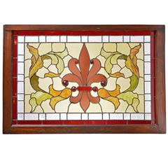 Jeweled Victorian Stained Glass Window with Anthemion and Leaf Design