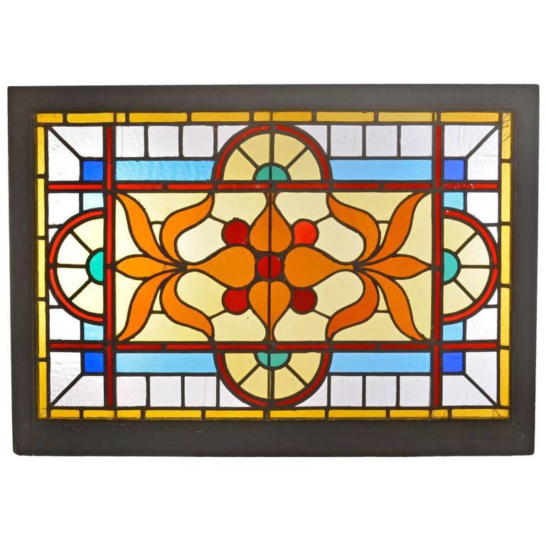 Victorian Stained Glass Window With Vivid Flashed Glass At