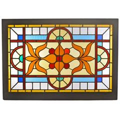 Victorian Stained Glass Window with Vivid Flashed Glass