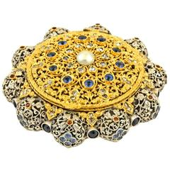 Antique Sapphire, Ruby and Diamond-Mounted Gold and Silver Box