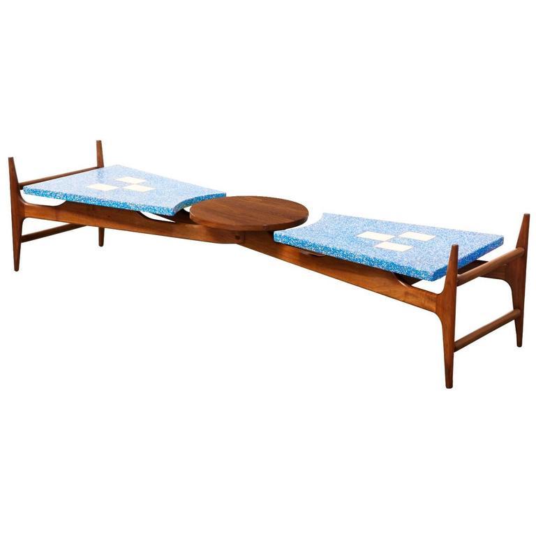 Harvey Probber Marble Top Rectangular Coffee Table W: Harvey Probber Rare Blue Terrazzo Floating Top Coffee