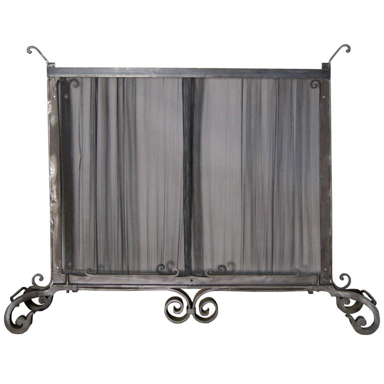 Very Large Ornate Wrought Iron Fire Screen With Mesh Curtain For Sale At 1stdibs