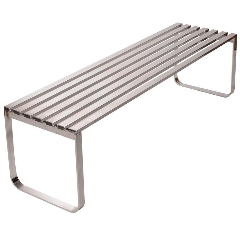 Milo Baughman for DIA Chrome Slat Bench For Sale