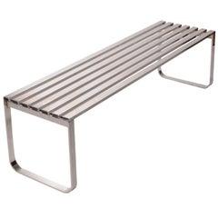 Milo Baughman for DIA Chrome Slat Bench
