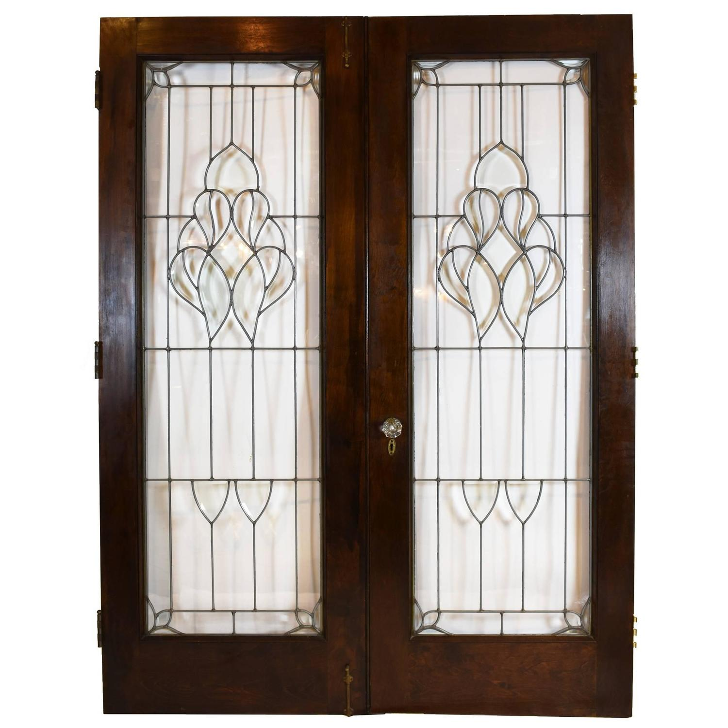 Arts and crafts beveled glass french door set at 1stdibs for Double doors with glass