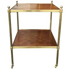 20th Century Parquetry and Brass Two-Tier Table