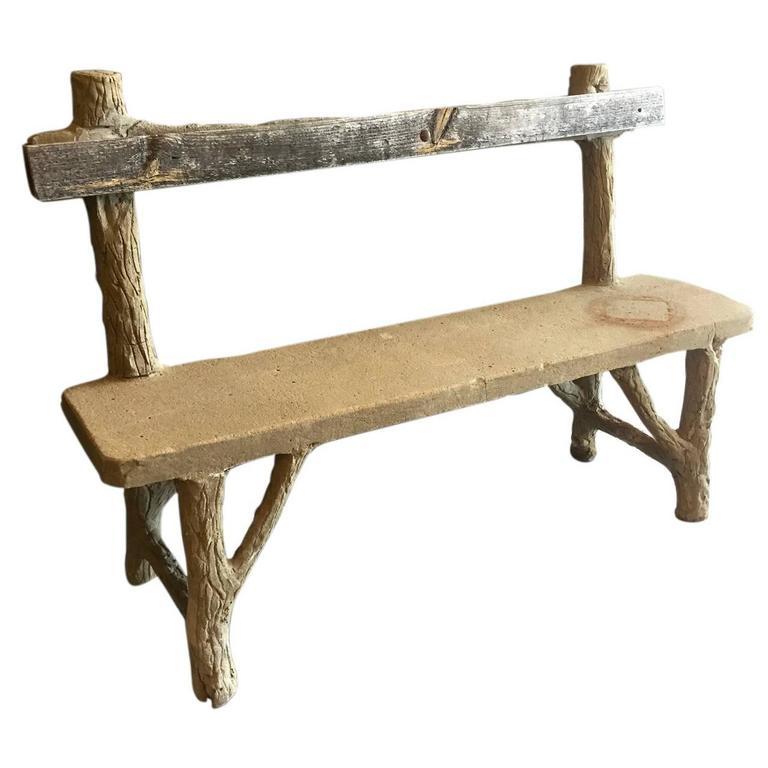 Concrete Folk Art Bench For Sale