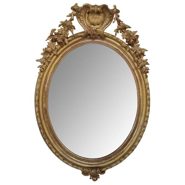 Finely-Carved French Napoleon III Giltwood Mirror with Shell Crest and Garland