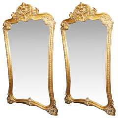 Fine Pair of Hand-Carved Gilt Louis XV Style Mirrors