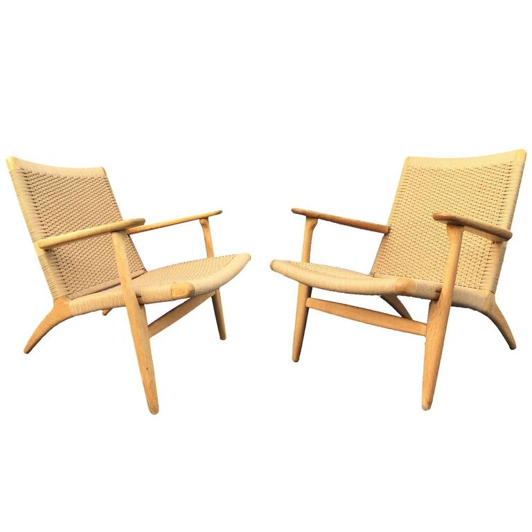 pair of original vintage ch25 chairs by hans wegner for. Black Bedroom Furniture Sets. Home Design Ideas