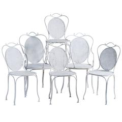 Set of Six French Antique Garden Chairs with Medallion Backs, circa 1900