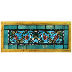 Tiffany Stained, Leaded and Jeweled Transom Window
