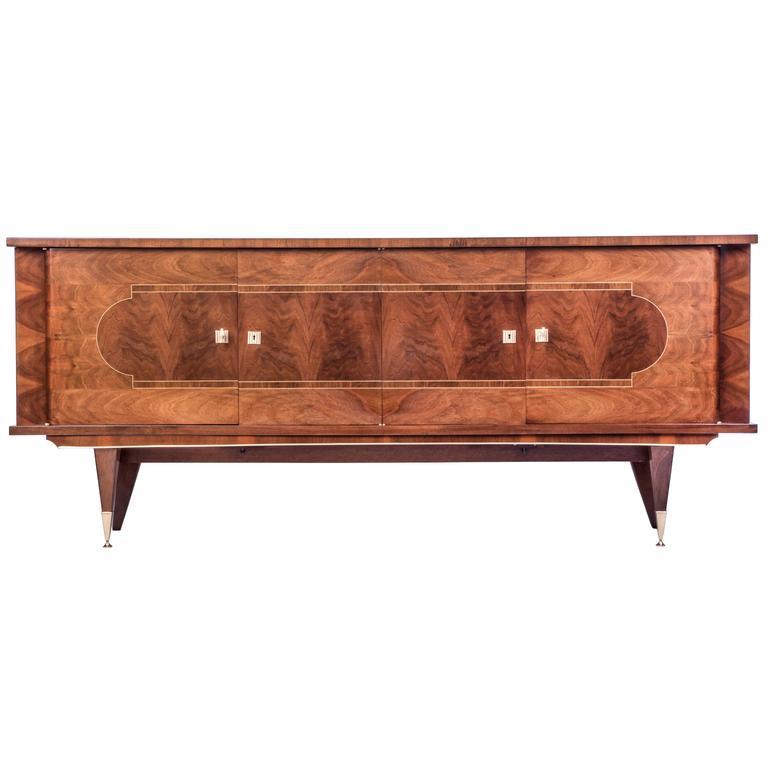 Luxe French Art Deco Buffet/Sideboard in Walnut